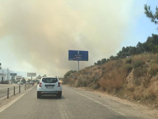 Muğla'nın Bodrum ilçesinde otluk ve makilik alanda yangın çıktı. Yerleşim alanlarına yaklaşan yangından korunmak için vatandaşlar, evlerinin duvarlarını ve bahçelerini ıslatıyor