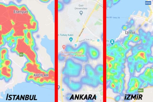 Sağlık Bakanlığı 'Hayat Eve Sığar' uygulamasını güncelledi. Corona Virüsle mücadele kapsamında yayınlanan uygulama, kullanıcıların illerdeki Corona Virüsü vakalarının yoğunluğunu gösteriyor. İşte İstanbul, Ankara ve İzmir'deki COVID-19 vakalarının yoğunluk haritası ve son durum...