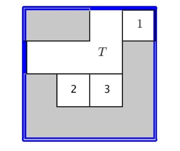 Burada yapmanız gerekenler:   1- 1 numarayı sol at köşeye getirin.   2- T'yi sağa geçirin.   3- 2 numarayı sol üst köşeye çekin.   4- 3 numarayı 2'nin altına geçirin.   5- Son olarak T'yi sağ alt köşeye kaydırın.