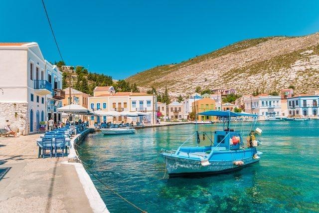 Kızılhisar Adası, Yunanistan  Diğer adıyla Meis Adası. Türkiye kıyılarından sadece 2.1 km uzaklıkta olan Kızılhisar Adası'na Kaş'tan sadece 20 dakikalık bir motor yolculuğuyla ulaşmanız mümkün. Kartpostal gibi sokakları, masal diyarlarındaki gibi ambiyansıyla sevgilinizle birlikte Kızılhisar Adası'nda attığını her adımda büyüleneceksiniz. Biz sakinliği seviyoruz diyenlerdenseniz bu Sevgililer Günü'nde Kızılhisar Adası'nı mutlaka görmelisiniz.