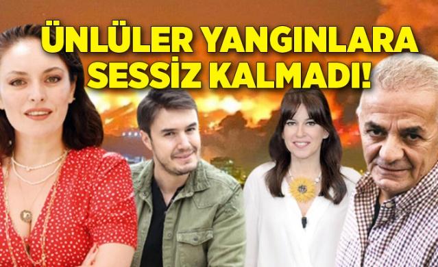 Manavgat, Kayseri, Osmaniye, Mersin'den sonra bugün de Kilis, Marmaris, Bodrum, Didim, Milas ve Antalya'dan yangın haberleri ardı ardına geldi. Ünlü isimler de Türkiye'nin dört bir yanında eş zamanlı başlayan yangınlara sessiz kalmadı.
