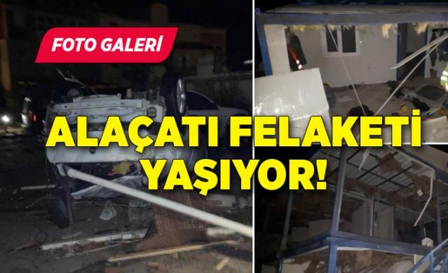 İzmir'de akşam saatlerinde gök gürültülü sağanak yağışla birlikte başlayan şiddetli fırtına hayatı olumsuz etkilerken, korkutucu haber Çeşme'den geldi.
