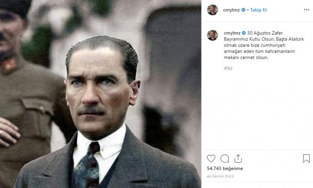 Cem Yılmaz  30 Ağustos Zafer Bayramı'nda, Cumhuriyetimizi bize armağan eden tüm kahraman büyüklerimizi anarken, mekanın cennet olsun büyük Atatürk diyorum. İyi bayramlar.
