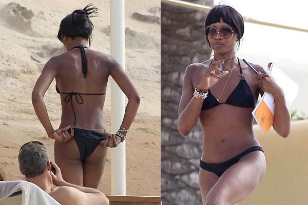 Süpermodel Naomi Campbell, siyah bikiniyle İspanya sahillerinde görüntülendi.