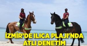 İzmir'de Ilıca Plajı'nda atlı denetim
