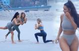 Kim Kardashian sahilde spor yaptı!