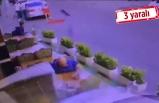 Otomobil restoranın dışındaki masalara daldı