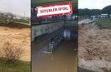 İzmir'de yağmur kabusu: Çay taştı, İZBAN sular altında kaldı