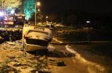 İstanbul'da otomobil denize uçmaktan son anda kurtuldu!