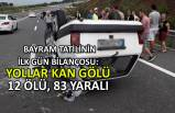 Bayram tatilinin ilk gün bilançosu: Yollar kan gölü: 12 ölü, 83 yaralı