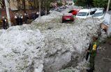 30 derecede dolu yağdı şehir buz altında kaldı