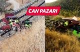 Otomobil tren raylarına düştü!