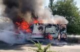 Uşak'ta hasta nakli yapan ambulans yandı