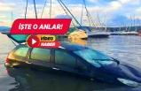 Seferihisar'daki tsunamiye arabada yakalandı!