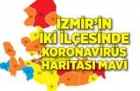 İzmir'in iki ilçesinde koronavirüs haritası mavi