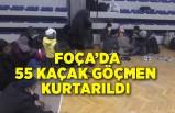 İzmir Foça açıklarında 55 kaçak göçmen kurtarıldı