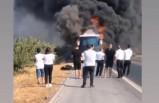Torbalı'da yolcu otobüsü alev alev yandı
