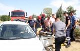 Yolcu otobüsüne çarpan otomobilin sürücüsü yaralandı