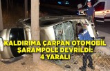Kaldırıma çarpan otomobil şarampole devrildi: 4 yaralı