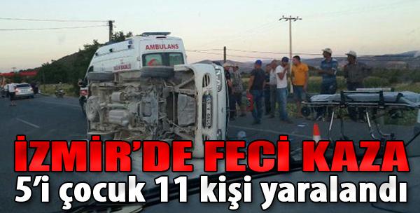 İzmir'deki Minibüs Otomobille Çarpıştı: 5'i Çocuk 11 Yaralı