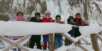 Sibirya Soğukları Şelaleyi Buz Dağına Çevirdi