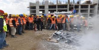 Hastane Şantiyesinde Yangın Tatbikatı