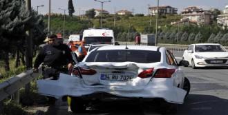 Kamyon Çarptı Otomobil Sürücüsü Yaralandı