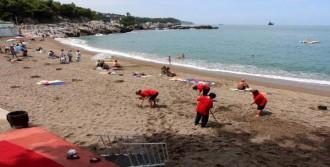 Mavi Bayraklı Plajda Temizlik