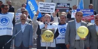 Nevşehir'de Eğitimciler Balon Patlatıp Kalem Bıraktı