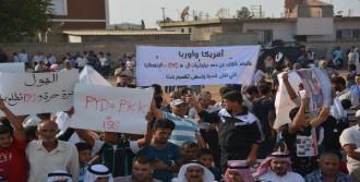 Suriyeliler, Sınırda PKK/PYD'yi Protesto Etti