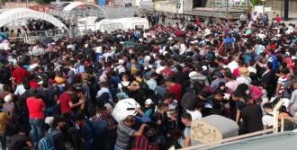 Suriyelilerin Sınırda Bayram İzdihamı