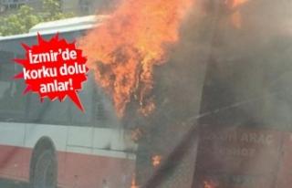 Belediye otobüsü seyir halinde alev aldı!