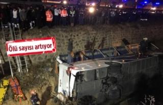 Feci kaza: Yolcu otobüsü devrildi