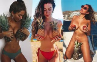 Yazın son akımı göğüsleri ananasla kapatmak