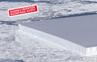 Antartika'da rastlanan kusursuz dikdörtgen buzdağının...