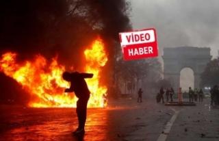 Sarı yeleklilerin Paris eylemleri klip oldu