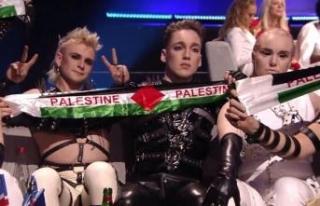 İsrail'deki Eurovision'da Filistin bayrağı...