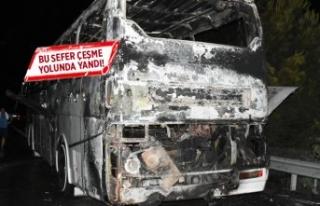Çeşme'de tur otobüsü yandı!