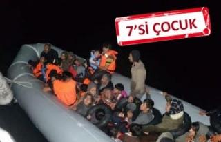 Çeşme açıklarında 111 kaçak göçmen ile 5 organizatör...