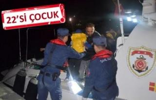 Dikili ve Çeşme açıklarında 98 kaçak göçmen...
