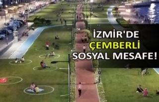 İzmir'de çemberli sosyal mesafe!