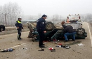 Kastamonu'da Otomobil Takla Attı