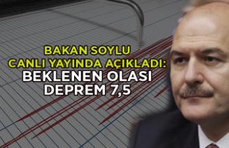 Bakan Soylu canlı yayında açıkladı: Beklenen olası deprem 7,5