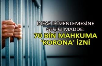 İnfaz düzenlemesine geçici madde: 70 bin mahkuma 'korona' izni