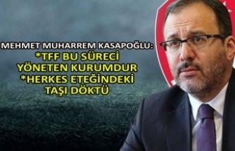 Mehmet Muharrem Kasapoğlu: TFF bu süreci yöneten kurumdur