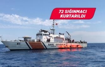 Türk kara sularına bırakılan 72 sığınmacı kurtarıldı