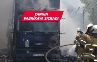 İzmir'de tırda başlayan yangın fabrikaya sıçradı