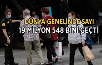 Dünya genelinde Kovid-19 tespit edilen kişi sayısı 19 milyon 548 bini geçti