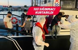 İzmir'de Türk kara sularına geri itilen 103 sığınmacı kurtarıldı