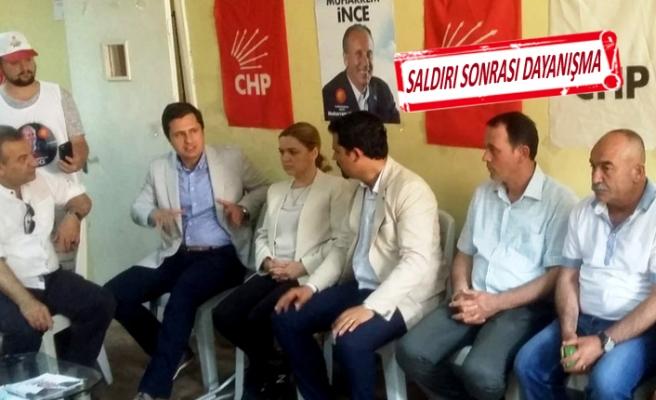 CHP'li Yücel ve Böke'den saldırıya uğrayan büroya ziyaret